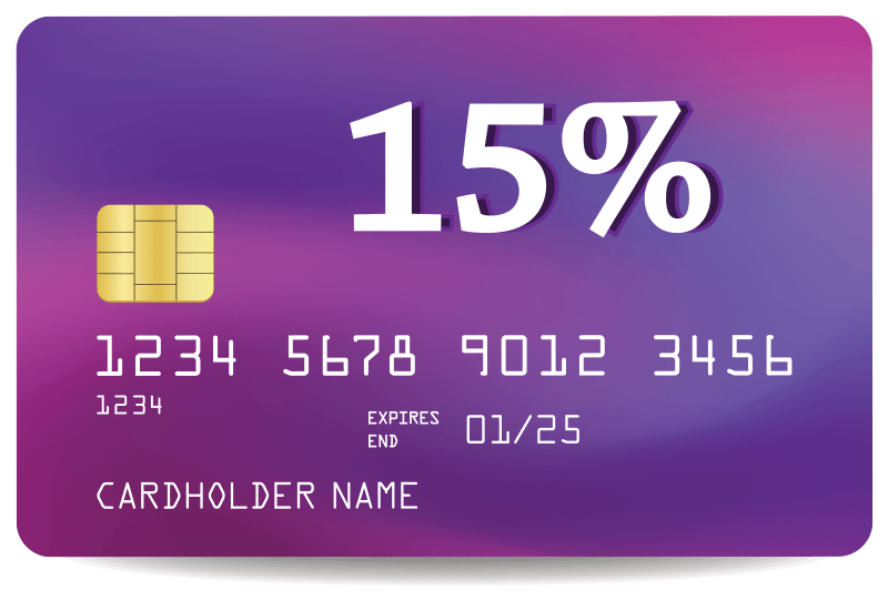 15% interest on credit card debt