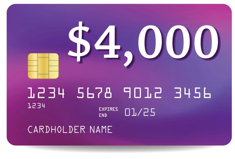 credit card debt of $4000