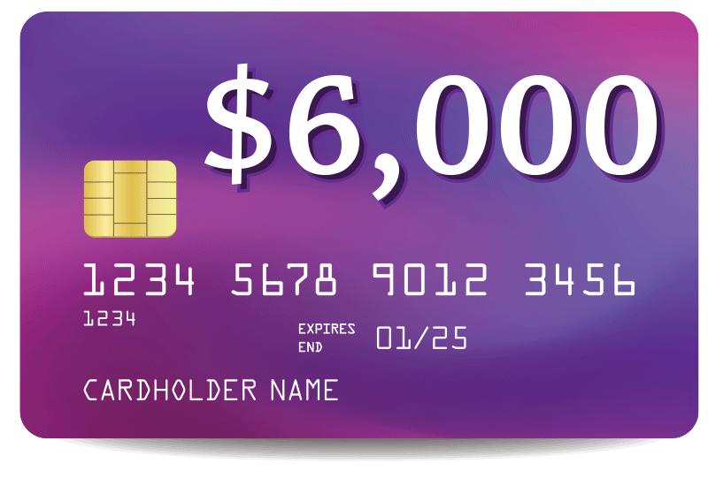 credit card debt of $6000