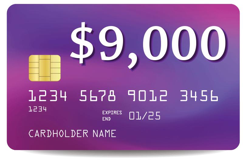 credit card debt of $9000